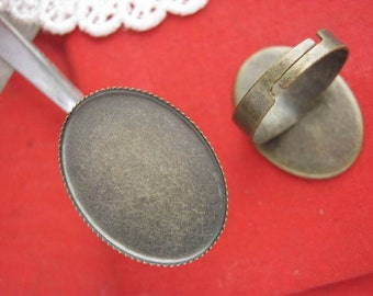 Brass ring blanks 18*25mm oval antique bronze cabochon Adjustable ring bases vintage handmade craft supplies, wholesale available No.T5227B