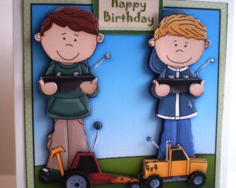 Handmade Boys and Remote Controlled Cars Birthday Card