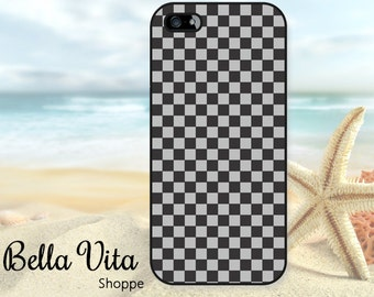 Checkered iPhone 5 Case, Checkerboard Black Grey, iPhone 5S Case I5S