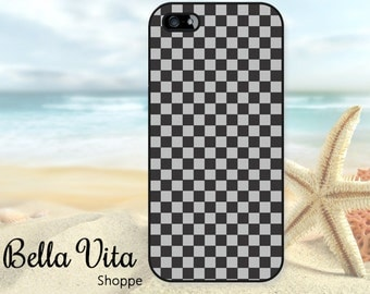 Checkered iPhone 5 Case, Checkerboard Black Grey, iPhone 5S Case