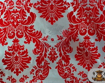 """Taffeta Damask Flocking Fabric 11 RED WHITE Backing / 58"""" Wide / Sold by the yard"""