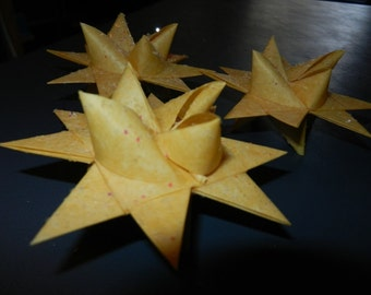 Set of 3 Handmade 16 point Paper Moravian Stars