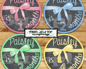 Personalized Girl Baby Monthly Stickers Baby Girl stickers Shower gift Chalk Chalkboard stickers Month by Month Bodysuit Stickers Milestone
