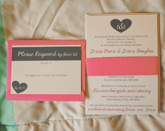 Wedding Invitations in Navy and Fuchsia