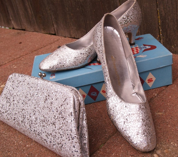 silver dress shoes with matching clutch prom wedding glitter