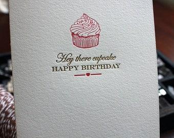 Letterpress Birthday Cupcake Card - Vintage