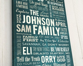 Word Art Canvas, Family Story, READY TO HANG, Typography, Rustic, Vintage Inspired, Premium Canvas