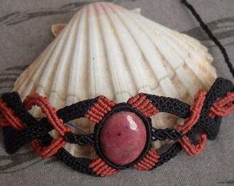 Rhodonite macrame bracelet