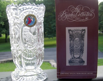 Crystal Bird Vase from The Byrde Crystal Collection 1988