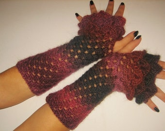 dragon gloves women fingerless multicolor warmers Cute Fingerless Gloves Crocheted Arm Warmers Dark Purple and Red Shades Accessory