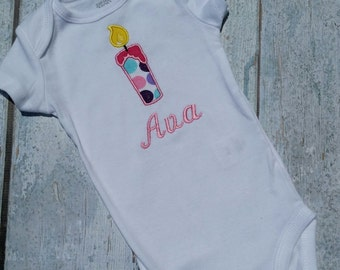 Baby Girl first birthday one-sie, b-day outfit, first birthday candle outfit - Toddler girl,  Baby Girl personalized , 1st Birthday  girl