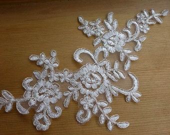 Ivory Lace Applique Silver Thread Alencon Lace Applique For Bridal, Headbands, Veils, Costume Design