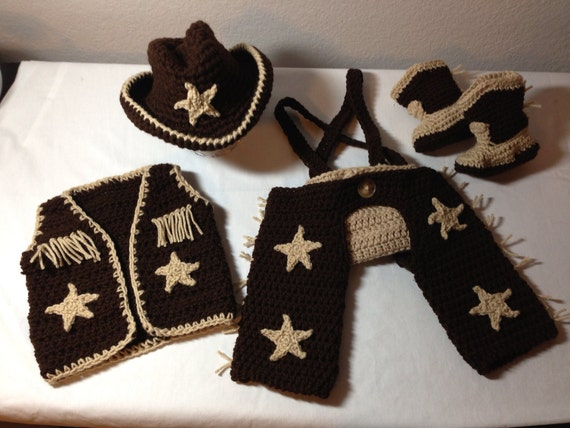 Crochet cowboy outfit NB through 6 months cowboy hat ...
