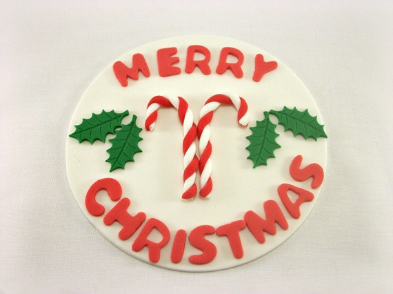 Edible Cake Decorations Holly Leaves : Items similar to Merry Christmas Cake Topper Edible ...