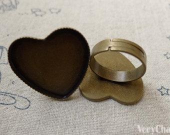 10 pcs Antique Bronze Adjustable Heart Ring Blank Shank Base with 25mm Bezel A6173