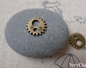 50 pcs Antique Bronze Tiny Gearwheel Charms Steam Punk Watch Parts 12mm A7094