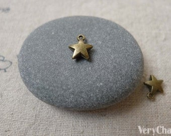 100 pcs of Antique Bronze Thick Star Charms 7mm A7133