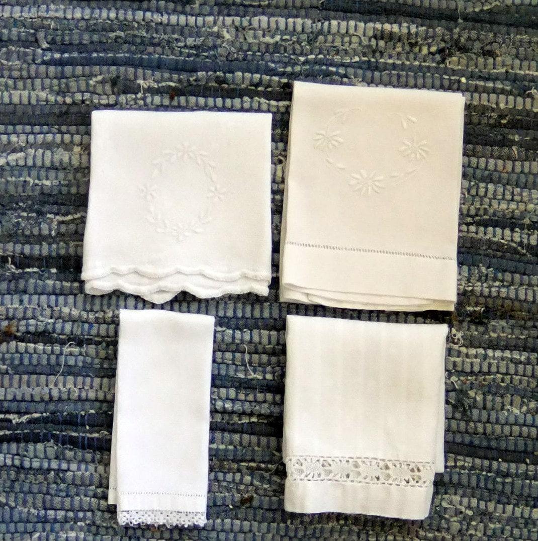 Vintage Towels: Vintage White Tea Towels Set Of Four