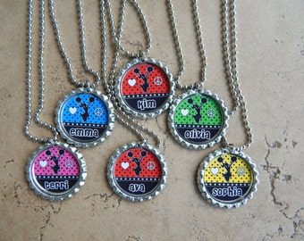 Set of 6 Personalized Cheerleading Party Favors Bottle Cap Necklaces OR Zipper Pulls - YOU CHOOSE - Cheerleader Necklaces