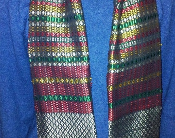 Double-sided funky, multicolor scarf