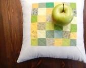 """Green White Yellow Decorative Pillow. Patchwork Quilt Home Decor. Quilt pillow. 16""""x16"""" Handmade. Apple decor."""