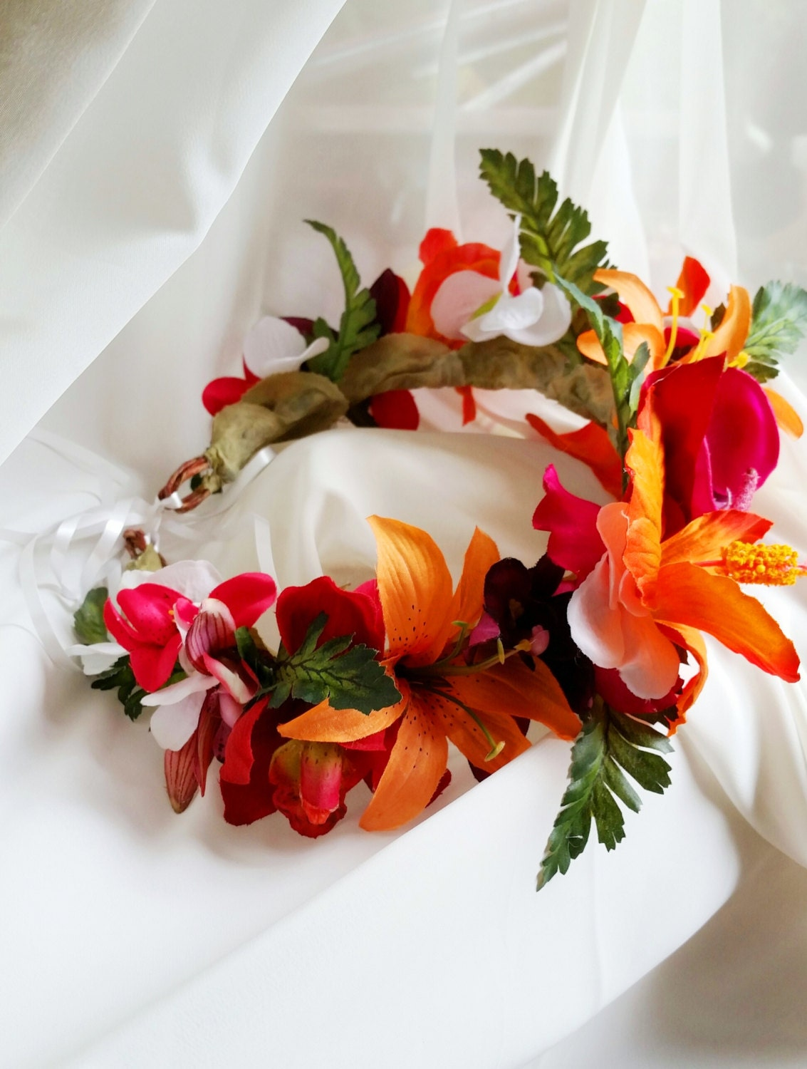 Tropical Flower On Koh Samui Thailand: TROPICAL FLOWER CROWN Hawaiian Tropical Headpiece Bridal
