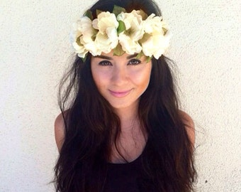 Flower Crown, Flower Headband, Coachella, Music festival, Rave accessory - White Cream Peonies