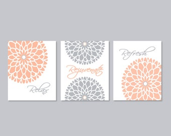 Bathroom Wall Art Bathroom Decor Floral Flower Flourish Art Set Of 3 Prints Or Canvas Relax
