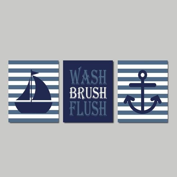 Kids Nautical Bathroom Decor Wash Brush Flush Wall Art Navy