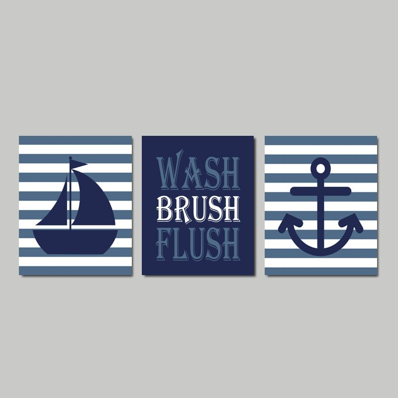 Nautical Bathroom Wall Decor : Kids nautical bathroom decor wash brush flush wall art navy