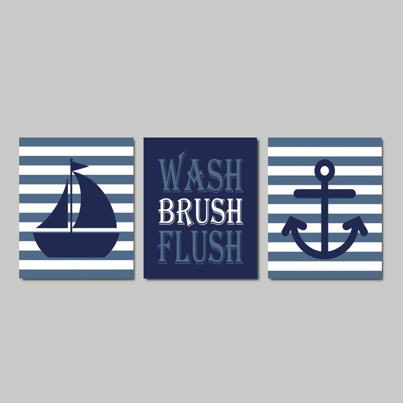 Kids Nautical Bathroom Decor Wash Brush Flush Wall Art Navy