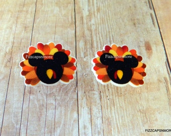 Turkey Thanksgiving Mouse Head Ears Nickel Free Post Earrings Holiday Fall