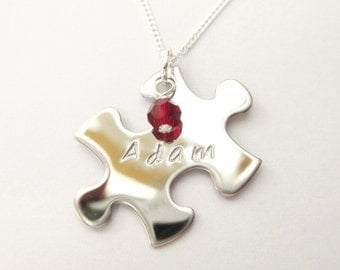 Mini Jigsaw Puzzle Necklace 2 - PERSONALISED & handstamped