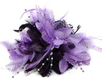 Dark and Lilac Light Purple Fascinator Black Headband Clip Comb Flower Corsage
