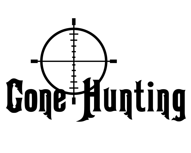 Hunting and fishing vinyl decal deer hunter sticker gone for Hunting and fishing decals
