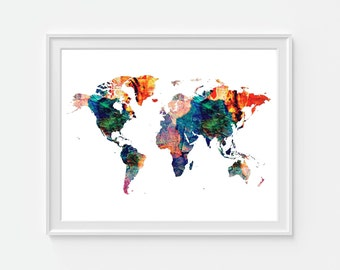 World Map, Map Wall Art, Travel Map, Map of the World, Travel Gift, Gallery Wall Art, Colorful Map, Watercolor World Map, Map Print