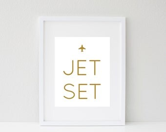 8.5x11 Jet Set Metallic Gold Screen Print, travel the world art