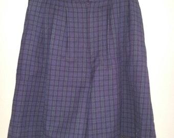 Vintage Blue and Green Plaid Wool Shorts/Skort  by David N  Size 12
