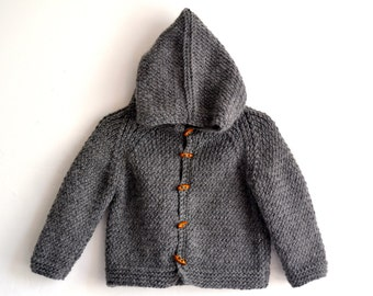 Hand Knitted Baby Boy Wool-Alpaca Hoodie Cardigan/Jacket, Chunky, Duffel Coat