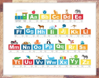 Alphabet Train Print Kids Boys Room Art