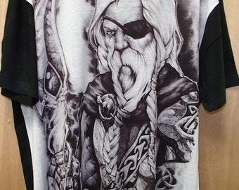 Scandinavian Norwegian Swedish Danish Norse Viking Odin T Shirt #5035 in Black & White