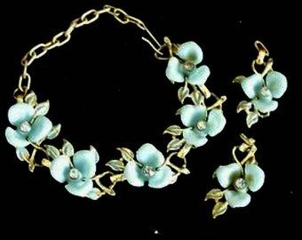 Vintage Celluloid Blue Flower Bracelet Earrings Demi Parure Rhinestone Jewelry Estate