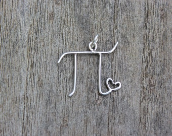 Pi love sterling silver pendant