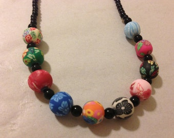 Flowered Femo Beaded Necklace