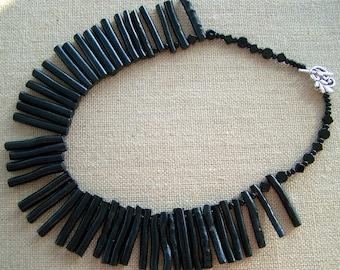 Black stix bamboo necklace