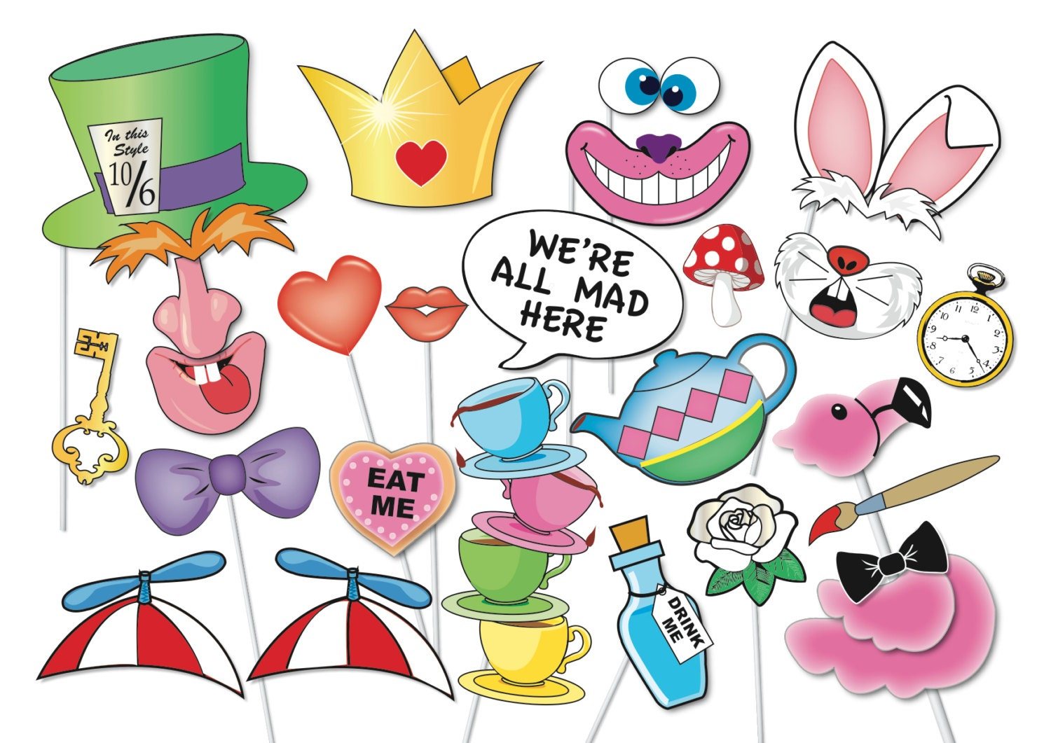 Alice in wonderland party photo booth props set 33 piece for Mad hatter party props