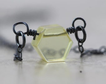 Baltic Amber Necklace Honeycomb Pendant Beehive Sterling Silver Chain Semiprecious Stone Beekeeper