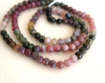 Round Tourmaline beads 1 strand 14 inches 4mm Multi tourmaline gemstone semi precious