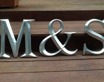 Large Wall Initials Set of 3 Letters and Ampersand You Choose Color and initial