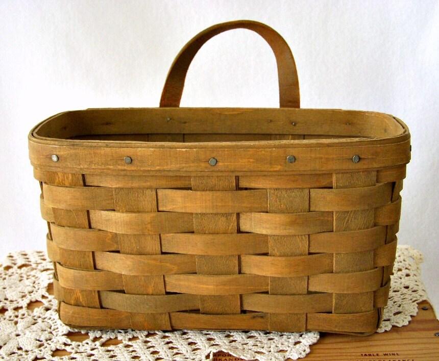 Vintage Longaberger Handwoven Basket Leather Handle By